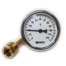 Термометр биметаллический с погружной гильзой Watts  F+R801 63/50 (120С)